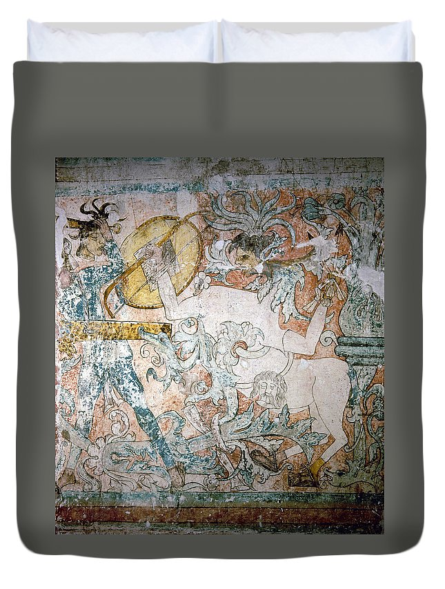 1550 Duvet Cover featuring the painting Mexico Ixmiquilpan Fresco by Granger