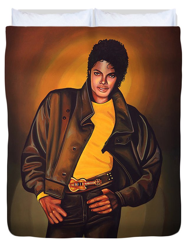 Michael Jackson Duvet Cover featuring the painting Michael Jackson by Paul Meijering