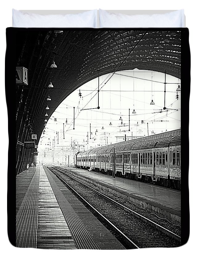 Train Duvet Cover featuring the photograph Milan Central Station by Valentino Visentini