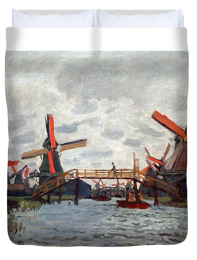 Claude Duvet Cover featuring the painting Mills At Westzijderveld Near Zaandam by Claude Monet