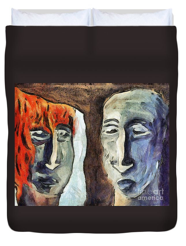 Abstract Duvet Cover featuring the mixed media Mirroring - Retrospect by Michal Boubin