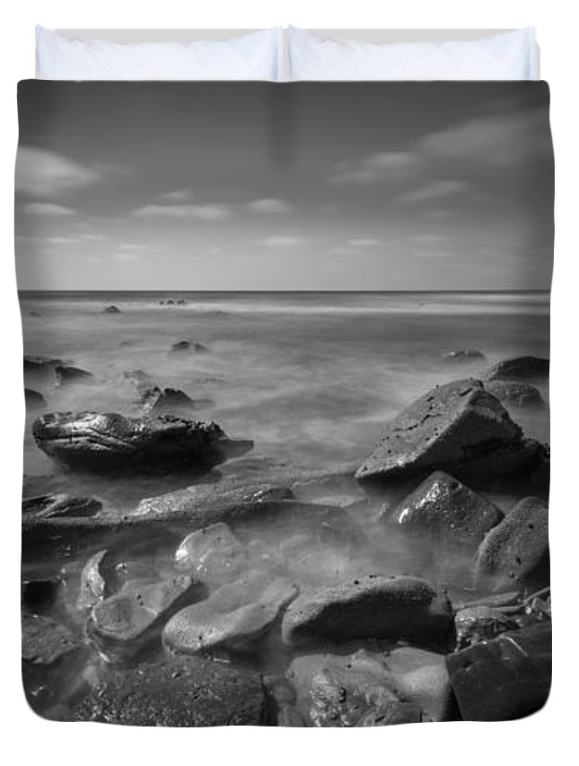 At Peace Duvet Cover featuring the photograph Misty Rocks Bw by Michael Ver Sprill