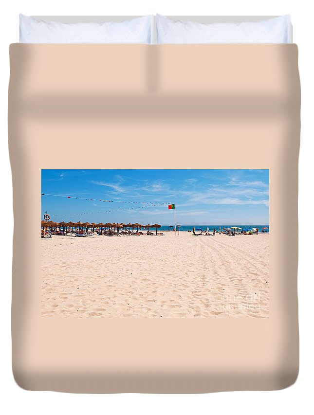 Montegordo Duvet Cover featuring the photograph Montegordo Beach by Luis Alvarenga