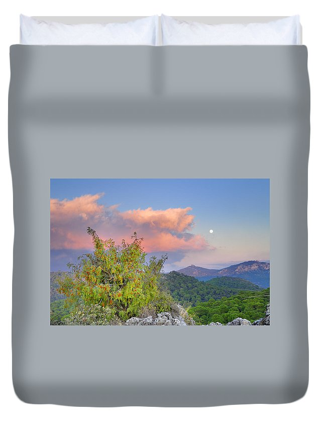 Sunset Duvet Cover featuring the photograph Moon by Guido Montanes Castillo
