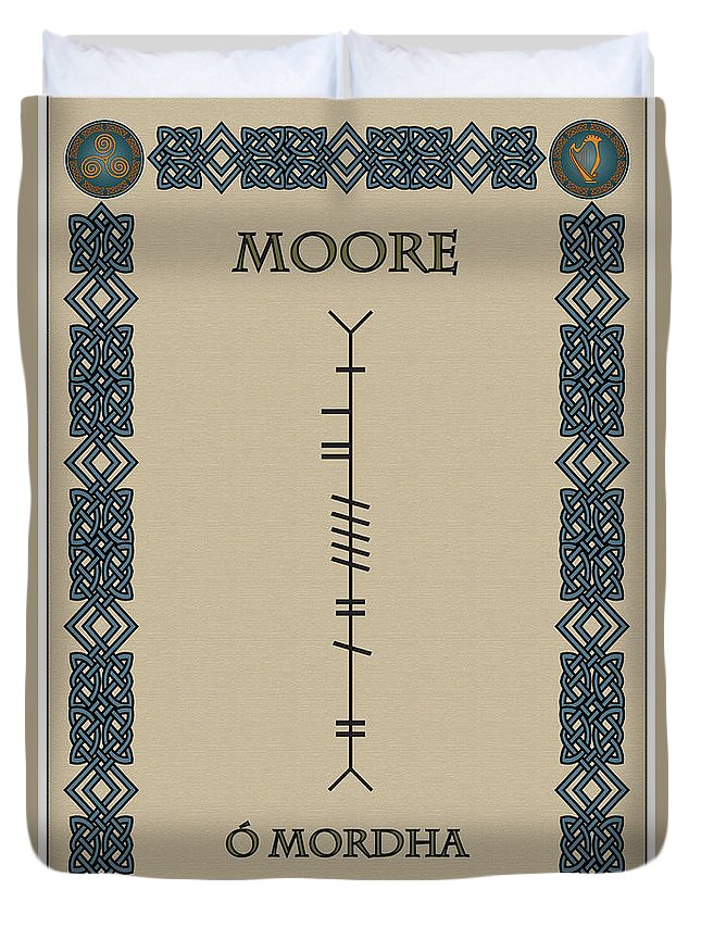 Moore Duvet Cover featuring the digital art Moore Written In Ogham by Ireland Calling