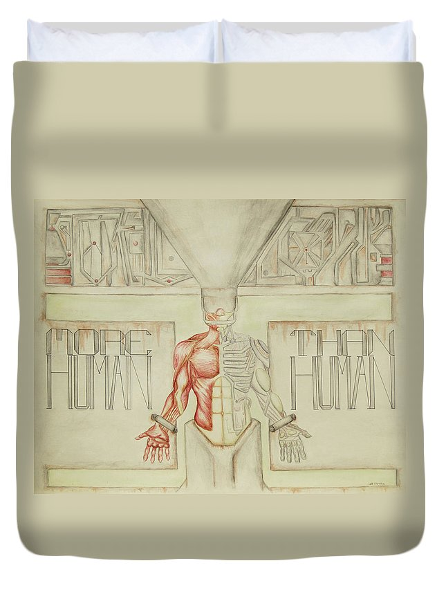 Anatomy Duvet Cover featuring the painting More Human Than Human by Jeffrey Oleniacz