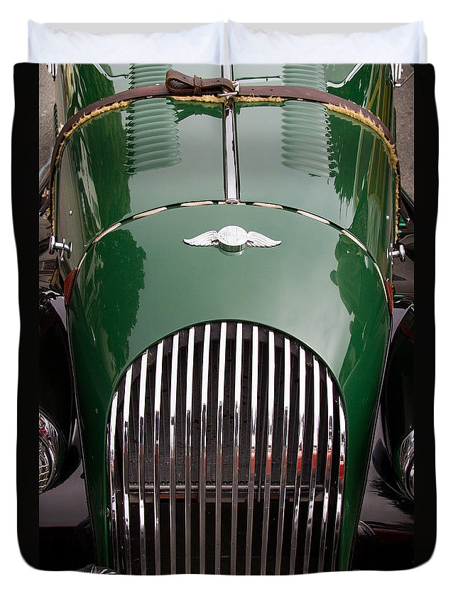 Morgan Plus 4 Hood And Grill Duvet Cover featuring the photograph Morgan Plus 4 Grill And Hood by Roger Mullenhour