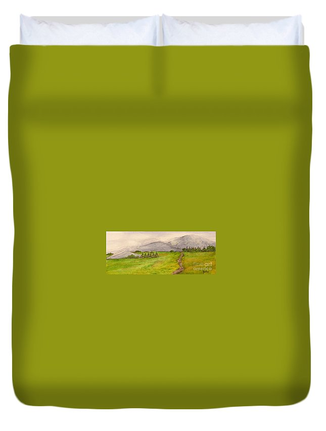 Paintings Duvet Cover featuring the painting Morning Fog by Regan J Smith