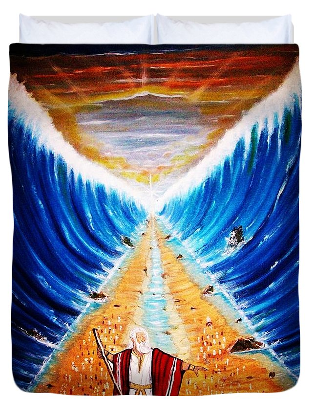 Parting The Red Sea Duvet Cover featuring the painting Moses. by Roejae Baptiste