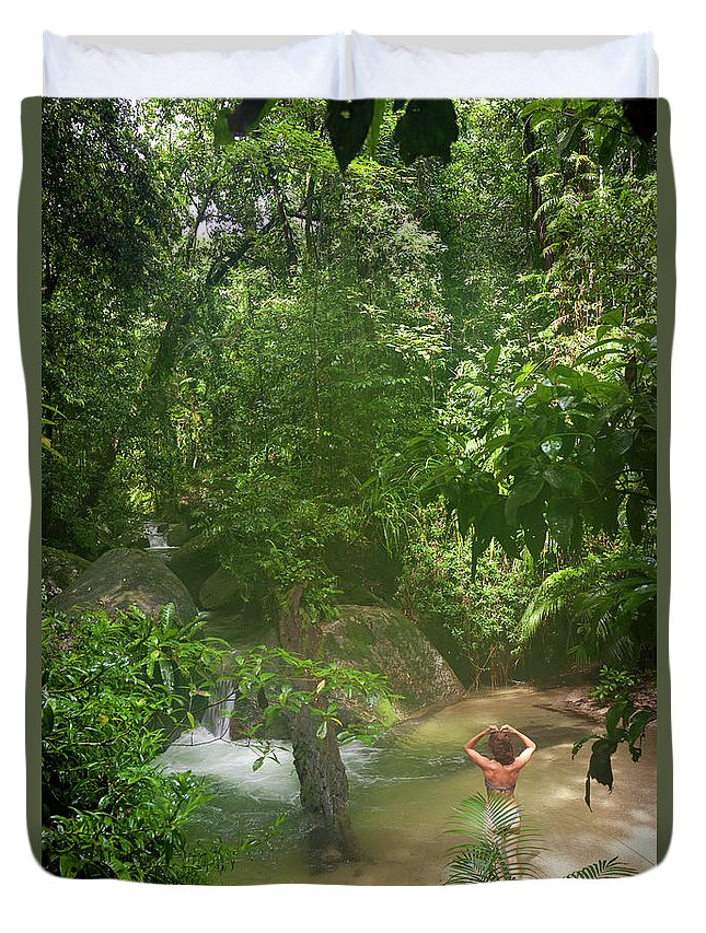 Scenics Duvet Cover featuring the photograph Mossman Gorge Daintree National Park by Peter Adams