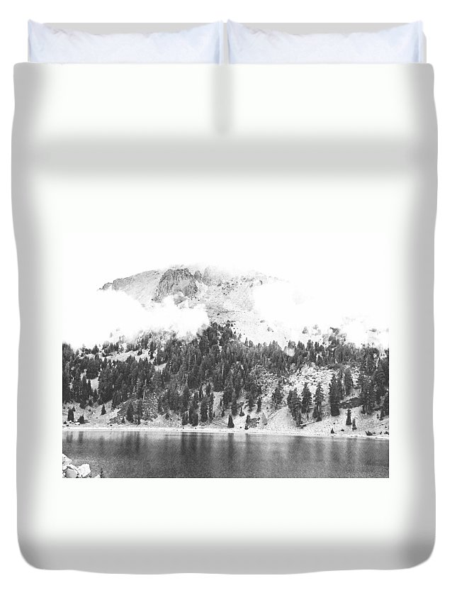 Pencil Duvet Cover featuring the photograph Mount Lassen Volcano In The Clouds by Frank Wilson