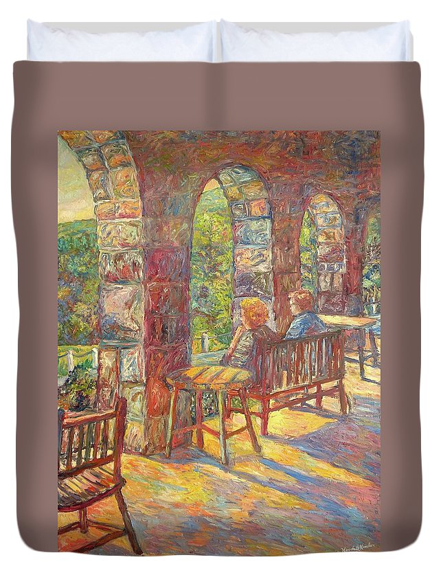Mountain Lake Duvet Cover featuring the painting Mountain Lake Evening by Kendall Kessler