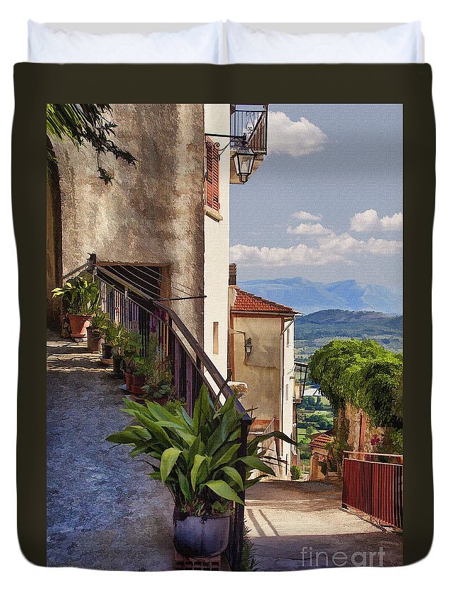 Italy Duvet Cover featuring the digital art Mountain Village by Sharon Foster