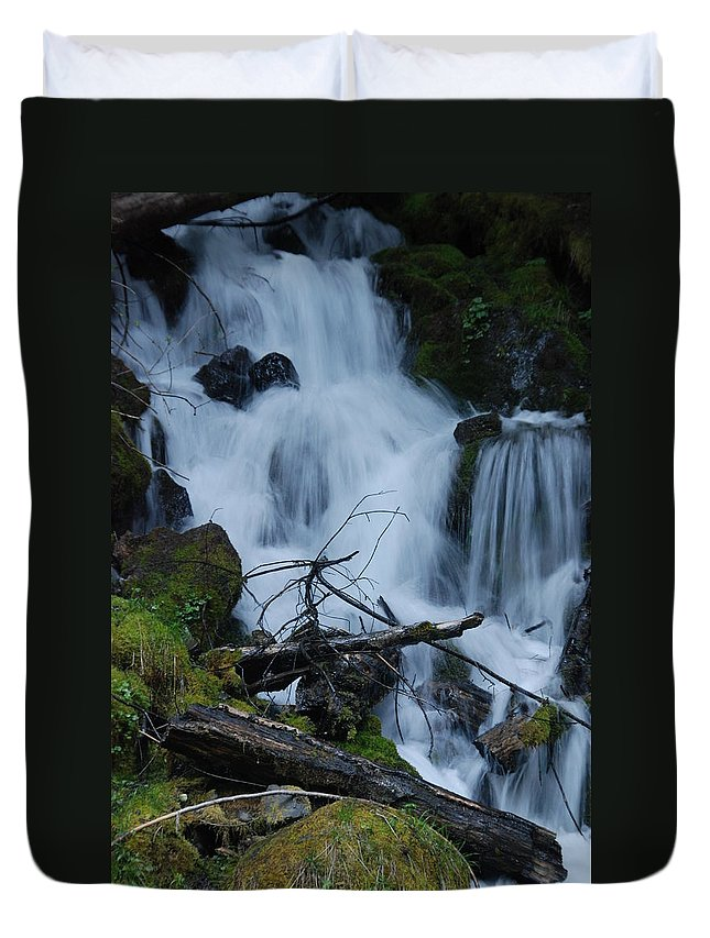 Waterfall Duvet Cover featuring the photograph Mountain Waterfall by Michael Merry