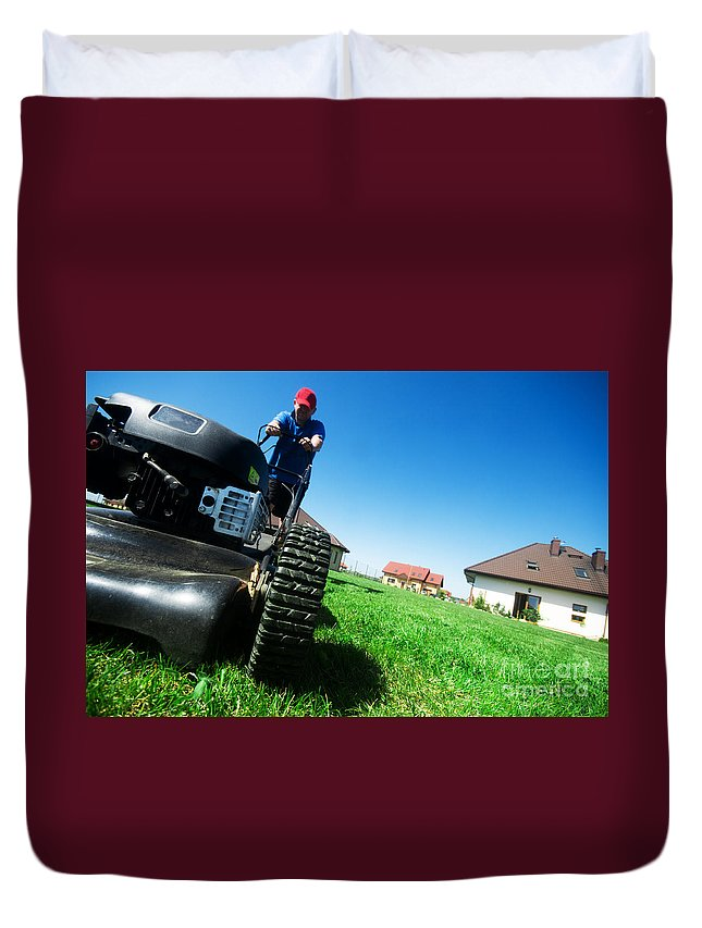 Backyard Duvet Cover featuring the photograph Mowing The Lawn by Michal Bednarek