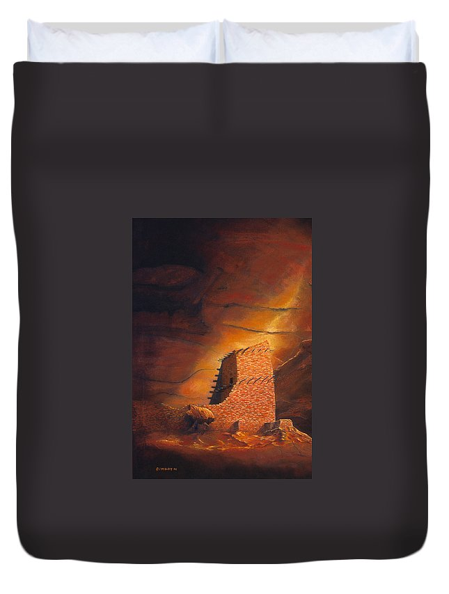 Mummy Cave Ruins Duvet Cover featuring the painting Mummy Cave Ruins by Jerry McElroy