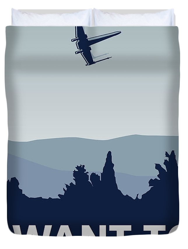 Classic Duvet Cover featuring the digital art My I Want To Believe Minimal Poster-xwing by Chungkong Art