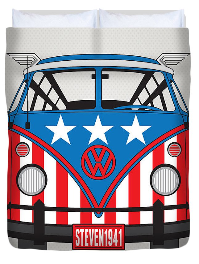 Superheroes Duvet Cover featuring the digital art My Superhero-vw-t1-captain America by Chungkong Art