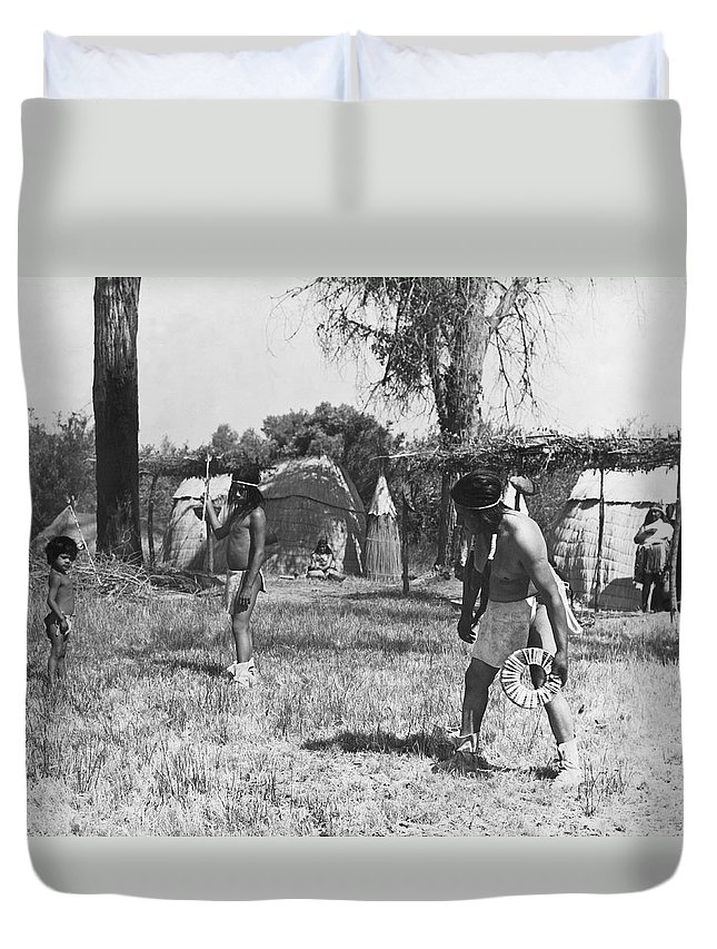 1920s Duvet Cover featuring the photograph Native American Games by Underwood Archives Onia