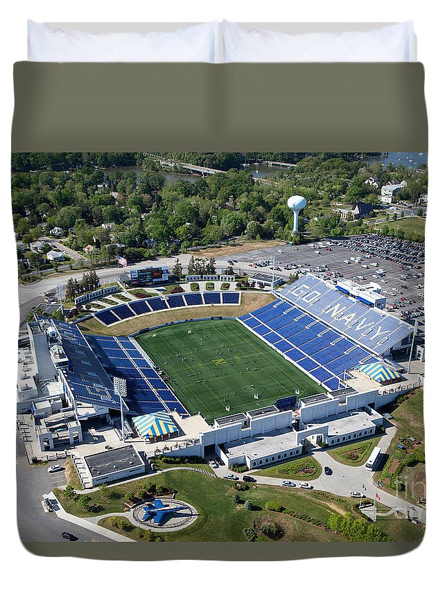 Marine Corps Duvet Cover featuring the photograph Navy Marine Corps Memorial Stadium by Bill Cobb