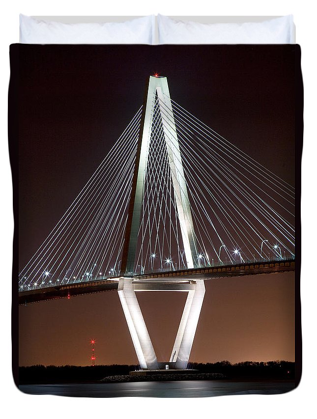 Arthur Ravenel Duvet Cover featuring the photograph New Cooper River Bridge by Bill Cobb