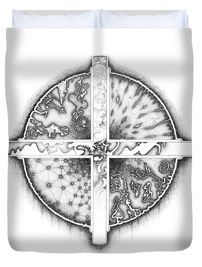 Duvet Cover featuring the drawing Medicine Wheel by Duane Ewing