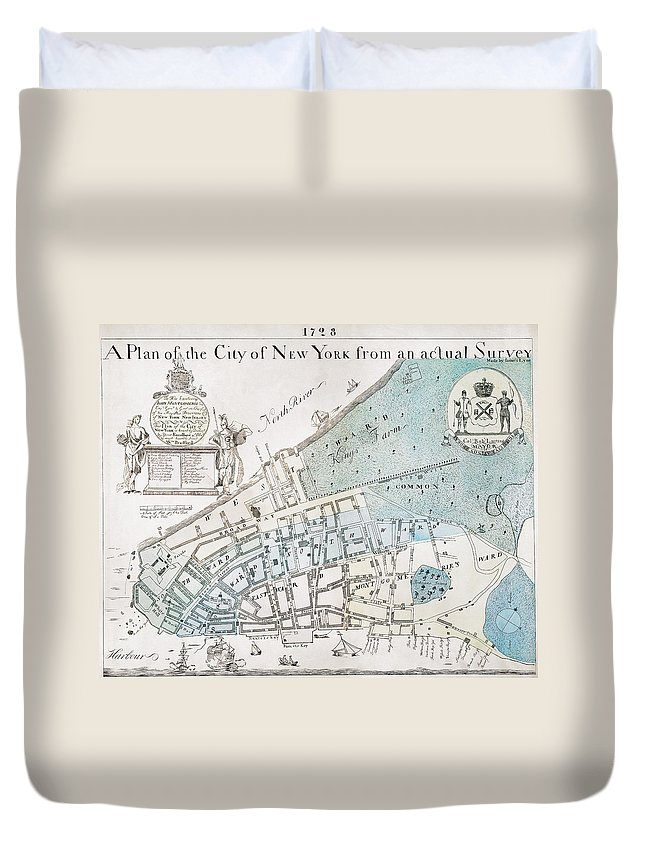 1728 Duvet Cover featuring the photograph New York City Map, 1728 by Granger