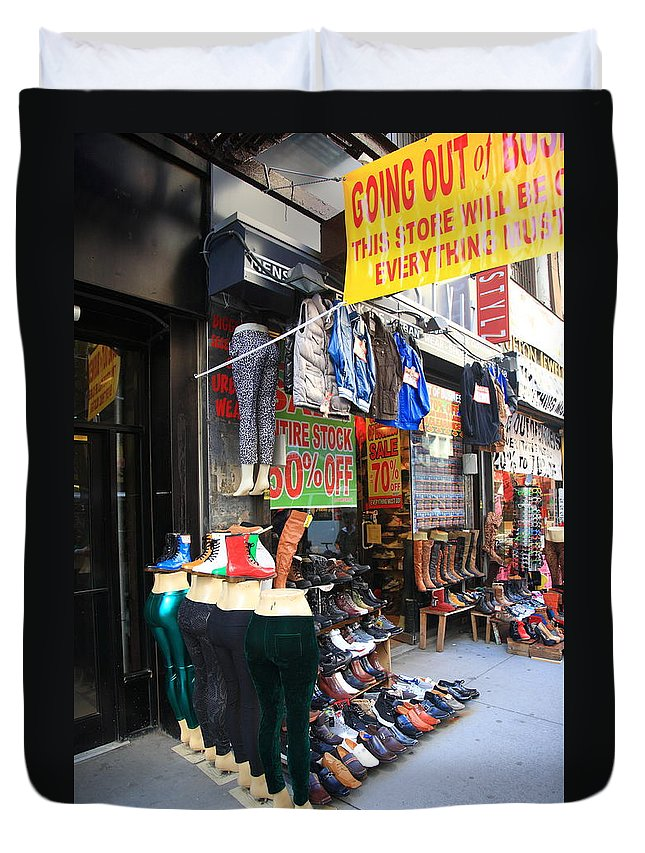 America Duvet Cover featuring the photograph New York City Storefront 8 by Frank Romeo