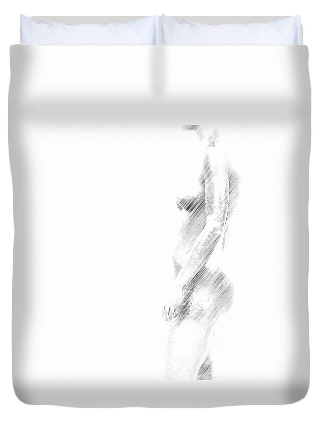 Nude Duvet Cover featuring the painting Nude by Heike Hultsch