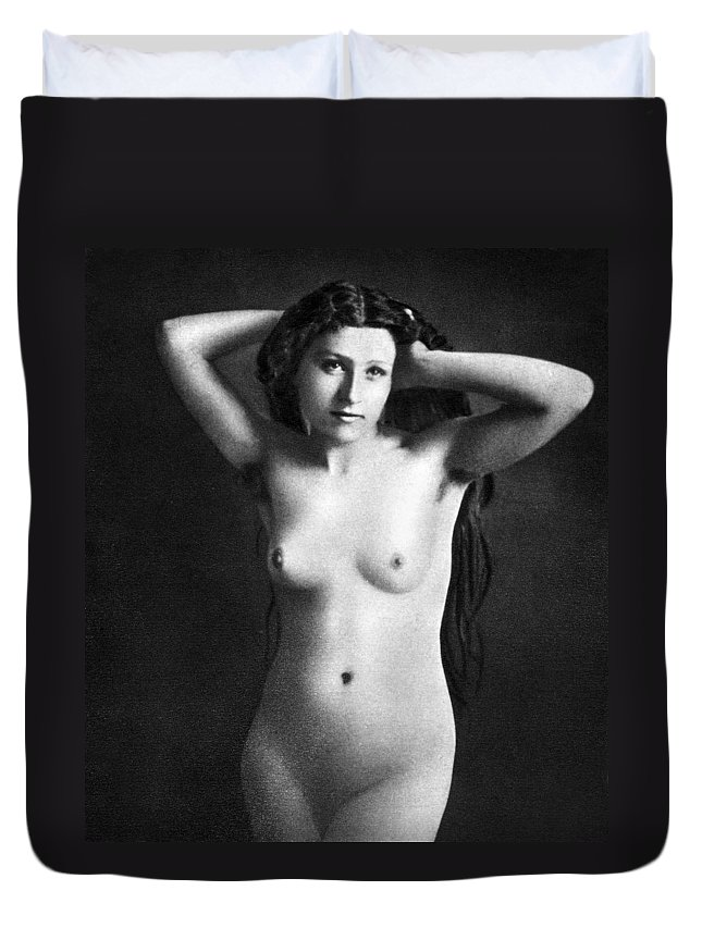 1850 Duvet Cover featuring the photograph Nude Posing, C1850 by Granger