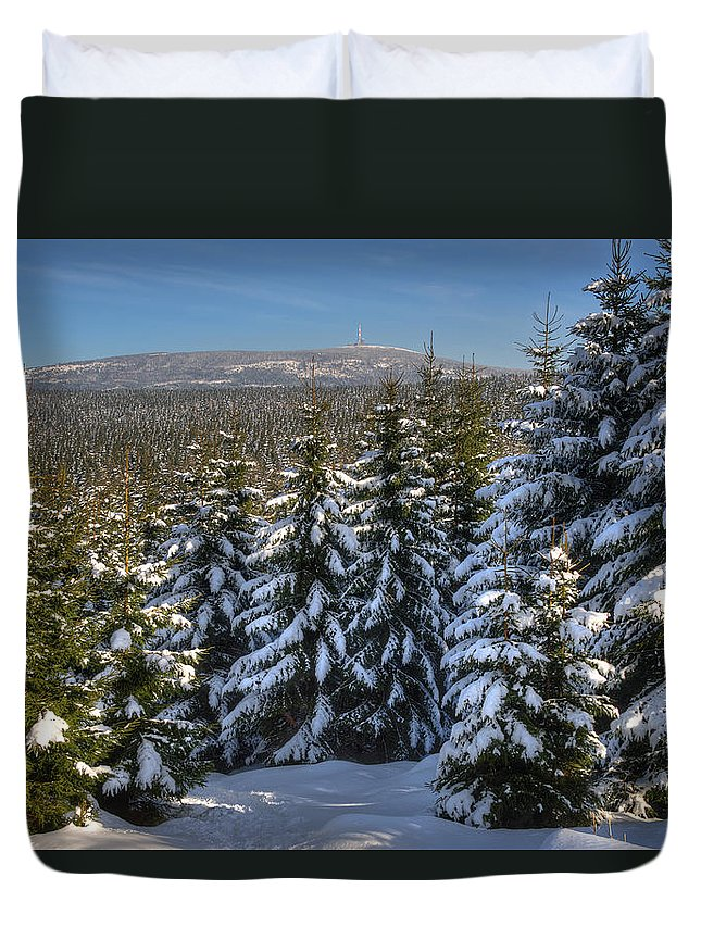 Tanne Duvet Cover featuring the pyrography Oberharz by Steffen Gierok