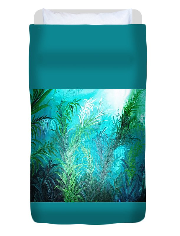 Ocean Duvet Cover featuring the painting Ocean Plants by Rupa Prakash