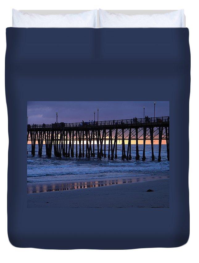 Sunset Duvet Cover featuring the photograph Oceanside Pier Sunset by Eric Johansen