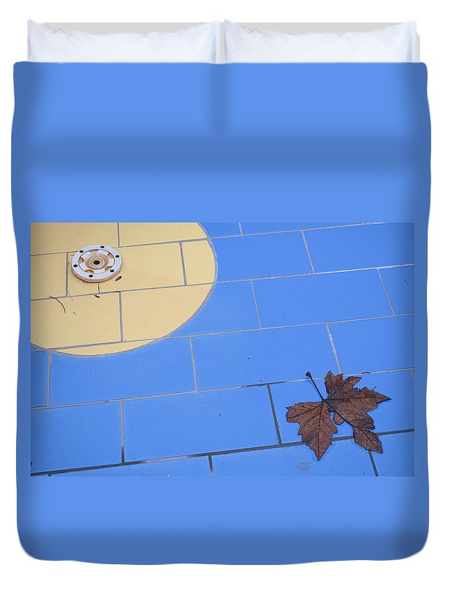 Abandoned Duvet Cover featuring the photograph Off-season Swimming Pool Close-up With Leaf by Ferenc Kosa