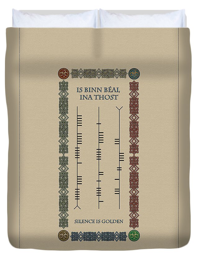 Is Binn Béal Ina Thost Duvet Cover featuring the digital art Ogham Silence Is Golden by Ireland Calling