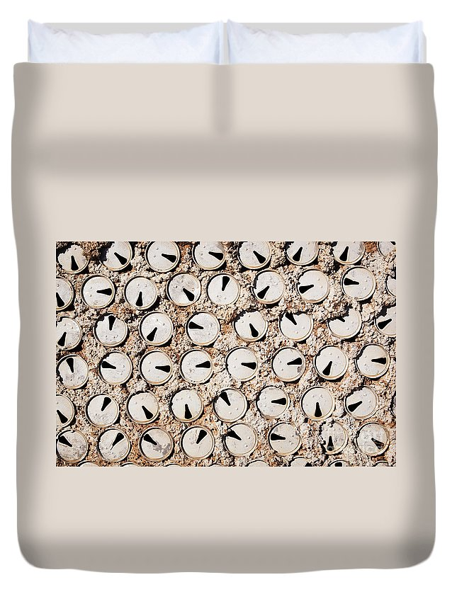 Lightning Ridge Duvet Cover featuring the photograph Old Beer Cans by Tim Hester