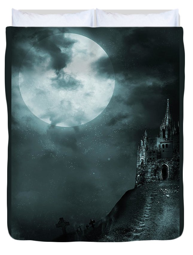 Gothic Style Duvet Cover featuring the photograph Old Castle by Vladgans