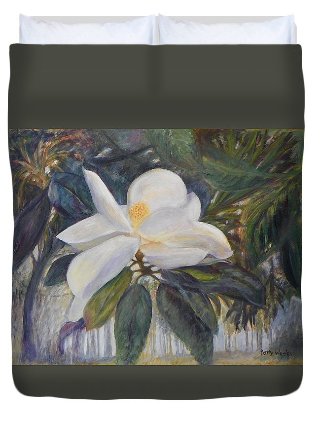 Magnolia Duvet Cover featuring the painting Old Florida Magnolia by Patty Weeks