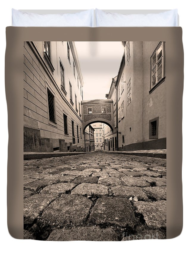 Old Duvet Cover featuring the photograph Old Street In Prague by Michal Bednarek