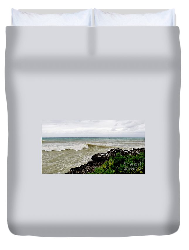 Stormy Sea From Shore Duvet Cover featuring the photograph On Shore by Amar Sheow