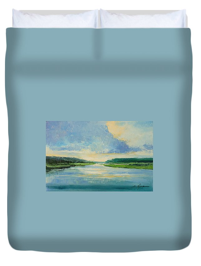 River Duvet Cover featuring the painting On The River by Luke Karcz
