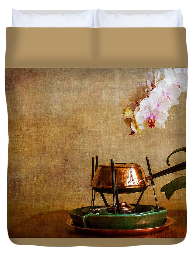 Floral Duvet Cover featuring the photograph Orchid And Copper Fondue by Brian Roscorla