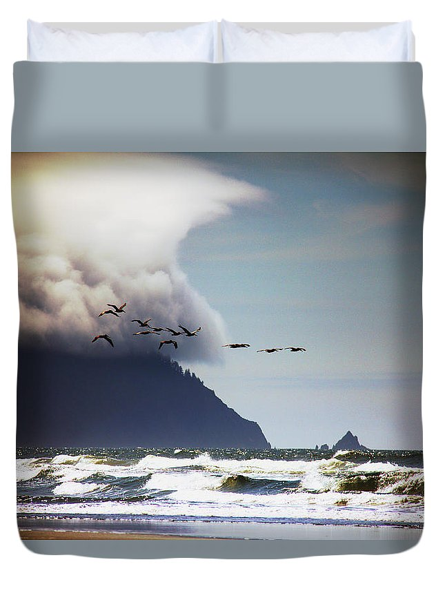Ocean Duvet Cover featuring the photograph Oregon Coast by Aaron Berg