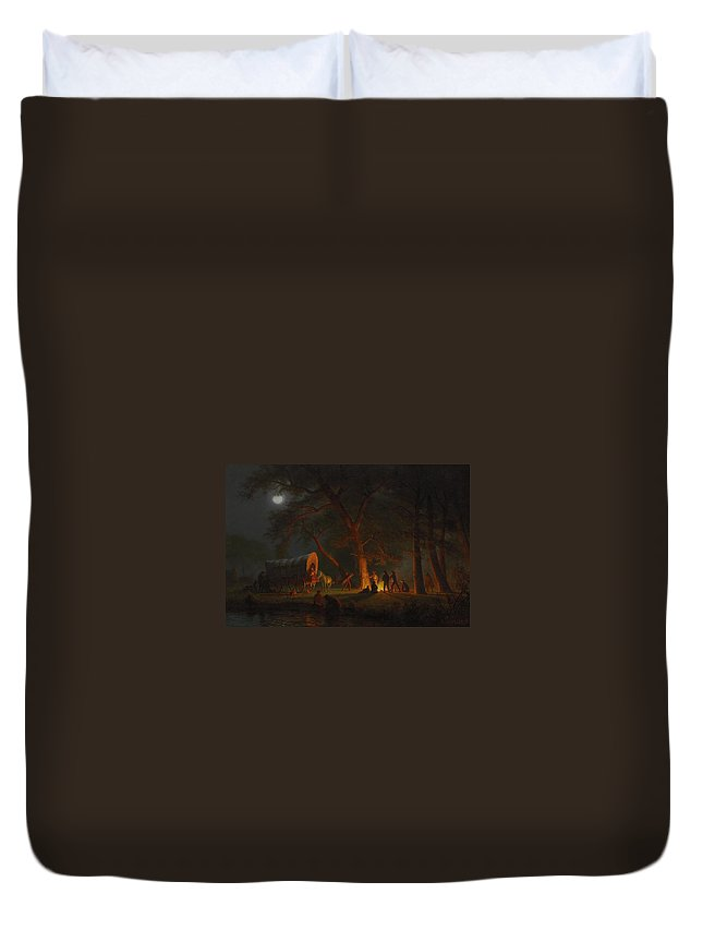 Oregon Trail Duvet Cover featuring the painting Oregon Trail by Albert Bierstadt