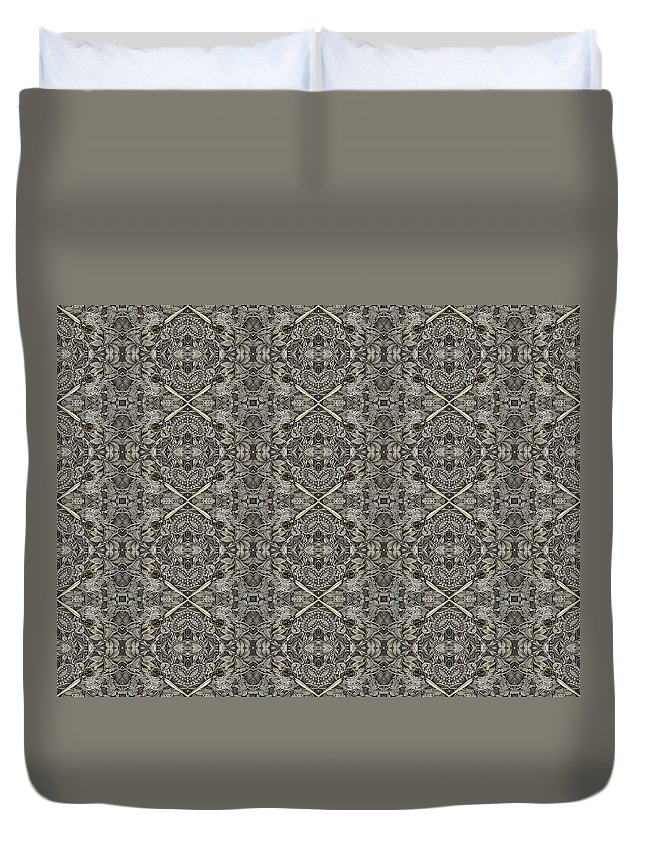 Duvet Cover featuring the digital art Ornament Engraved On Metal Surface by Nenad Cerovic