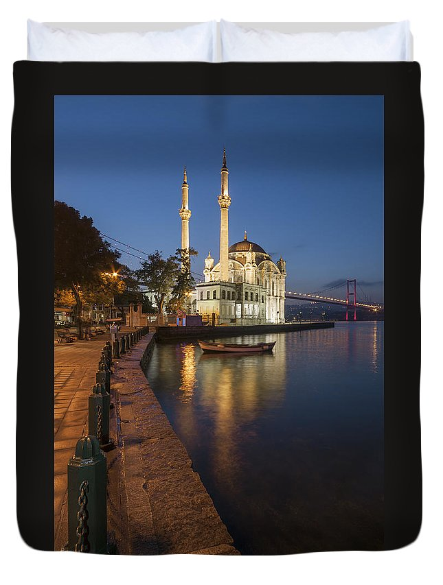 City Duvet Cover featuring the photograph Ortakoy Mosque And Bosphorus Bridge by Ayhan Altun