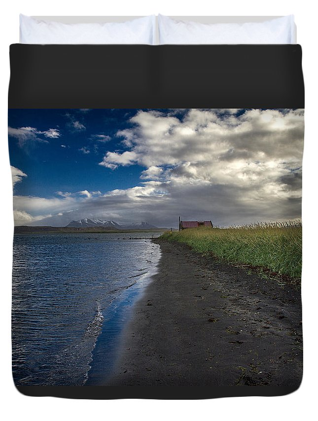 Iceland Duvet Cover featuring the photograph Osar Beach Iceland by For Ninety One Days