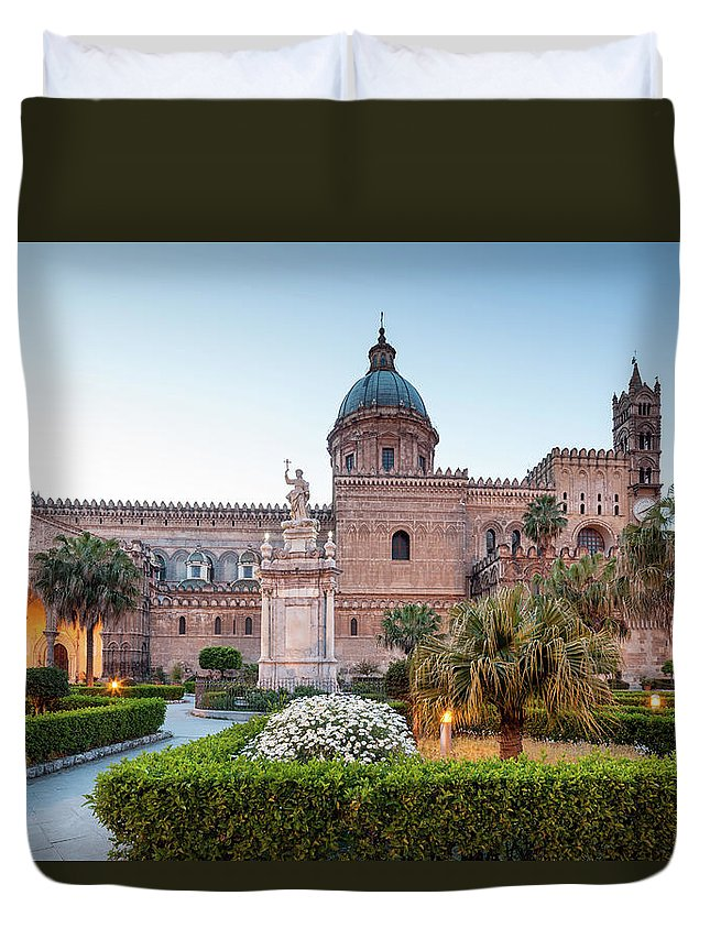 Saturated Color Duvet Cover featuring the photograph Palermo Cathedral At Dusk, Sicily Italy by Romaoslo