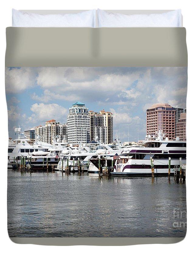 Docks Duvet Cover featuring the photograph Palm Beach Docks by Bill Cobb