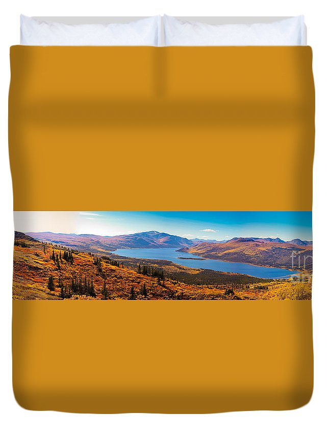 Adventure Duvet Cover featuring the photograph Panorama Of Fish Lake Yukon Territory Canada by Stephan Pietzko